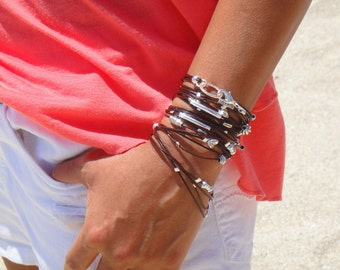 BEST SELLER / Leather  Bracelet / Necklace - Available in 10 Leather Colors