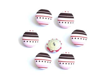 Buttons 26 mm x 6 brown white pink cotton stripes decor