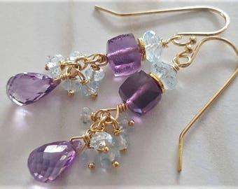 Amethyst And Blue Topaz Earrings, Blue Topaz Earrings, Amethyst Earrings, Gemstone Cluster Earrings, Gold Filled Earrings, Amethyst Jewelry