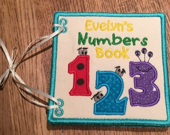 Numbers Fabric Book, Embroidery/Applique, Free Personalization