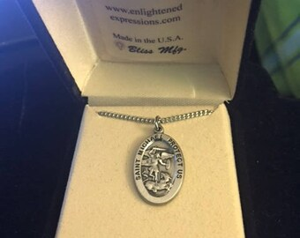 St. Michael pewter pendant ladies ...FREE shipping !!!
