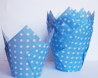 24 Lt Blue with White Dots Tulip Paper Cupcake Liners
