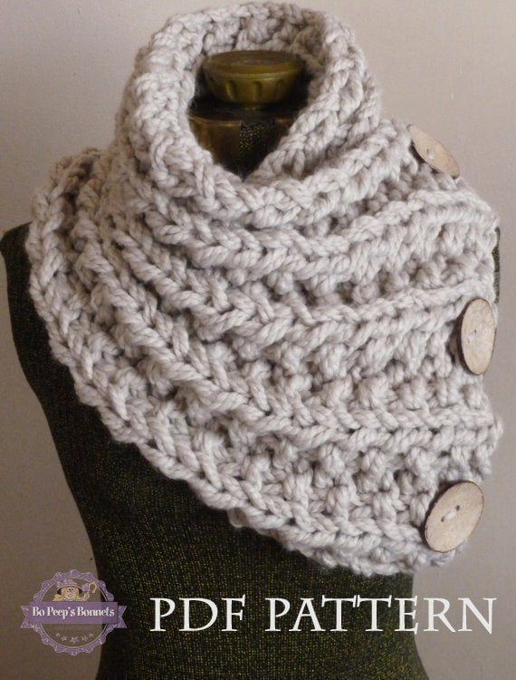 Knit Scarf Pdf Pattern Knitting Pattern Chunky Button