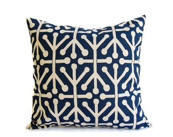 Navy pillow cover One Navy Blue and Natural Aruba navy throw pillow blue pillow sham cushion cover