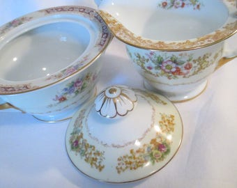 Vintage Mismatched China Sugar Bowl & Creamer Set for Tea Party, Garden Party, Bridal Luncheon, Wedding Gift, Tea Set