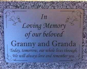Personalised grave stone, grave marker,Grey Granite Memorial, Grave Plaque,laser engraved headstone,grave marker, Any Wording
