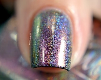 """Nail polish - """"State Of Mind"""" Pink / gold / green multichrome holo with copper flakes"""