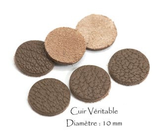6 round genuine leather - Diam. 10 mm - goat leather - Taupe color set