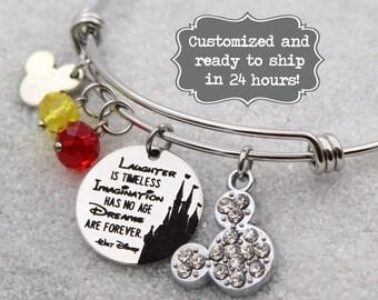 Walt Disney quote - Laughter is timeless, Imagination has no age Disney Inspired, Bangle Bracelet, Custom Charm Bracelet, Castle, Mickey