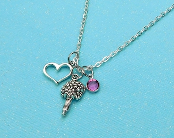 Bouquet Necklace, Bridesmaid Necklace, Flower Girl Necklace, Bridesmaid Gift, Wedding Jewelry, Flower Charm Necklace, Heart Charm Necklace