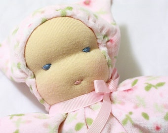 Waldorf Doll - Pastel Pink Floral- Velour- Blue Eyes- Large- 11 inches - Little Baby Style - Baby- Toddler- Free Shipping