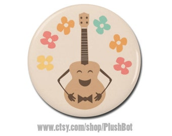 """Funny Cute Happy Ukulele Uke Button 1.25"""" or 2.25"""" Pinback Pin Button Badge Cool Ukulele Gift Accessories for Strap Bag or Case"""