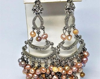 30% Off Sale Chandelier Earrings Pierced Vintage Faux Pearls Rhinestones