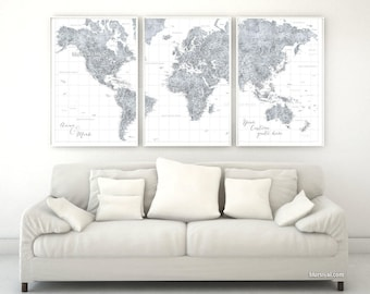 Grayscale world map etsy custom quote highly detailed world map poster split in 3 panels map with cities gumiabroncs Image collections