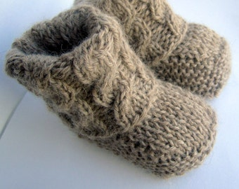 Hand knitted Baby Booties, slipper socks // Made from 100% Baby Alpaca // You Pick Size and Color