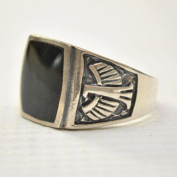 Onyx Curved Square Phoenix Bird in Sterling Silver Ring Sz 12 #8745