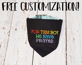 Rainbow Baby Pregnancy Announcement- Rainbow Baby Dog Bandana -Pregnancy Reveal After Loss -Rainbow Pregnancy -For This Boy We Have Prayed