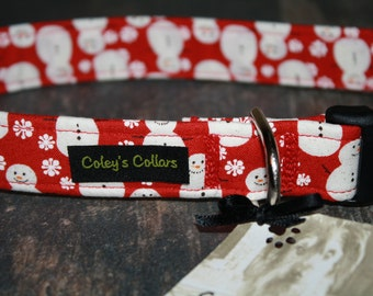 """Red Snowman Dog Collar """"Mr Snow in Red"""""""