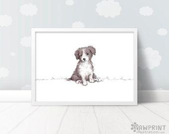 Border Collie Puppy nursery decor - dog nursery decor, Dog nursery print gift for best friend, dog birthday gift dog nursery animal art