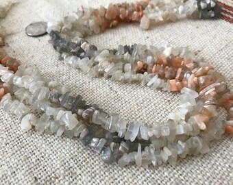 "Genuine Moonstone Chip Beads 36"" strands"