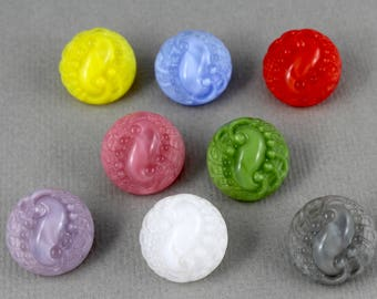 Vintage mix of Czech moonglow glass buttons, jewelry accent, knitting, crocheting, sewing - 18mm - 8 pcs - GBN350