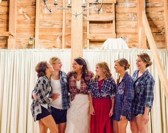 Featured listing image: Bridal Party, Rustic Wedding, Bridal Party Gift,Bridesmaids Worn-In Vintage Flannel, All Sizes, Custom, Distressed Flannel, Assorted Colors
