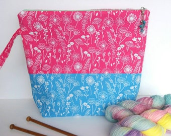 LARGE Project Bag for Knitting, Yarn Pouch, Gift For Knitter, Crochet Project Bag, bright floral prints, fits 6-7 skeins