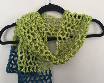 Scarf, Ocean Blue and Chartreuse