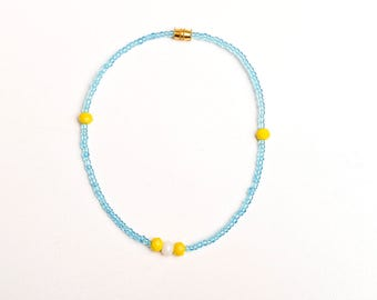 Beaded Anklet - Blue Beads with Yellow and White Crystals