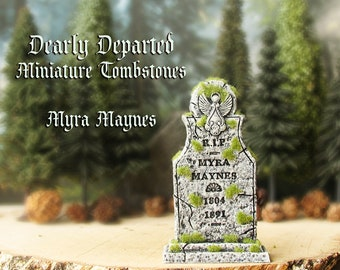 Dearly Departed - Halloween Miniature Tombstone Decor - Myra Maynes - Handcrafted and Hand-Painted Decorative Gravestones with Moss