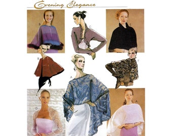 Women's Evening Cover-Ups, Shrug, Capelet Sewing Pattern Misses' Size 4-6-8-10-12-14-16-18 Uncut McCall's 3033