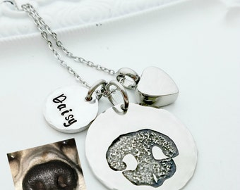 Your Pet's Actual Nose Print Necklace, Pet Cremation Necklace, Cat or Dog Paw Print Memorial Necklace, Remembrance Necklace, Pet Loss Gift