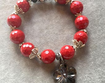 Cherry red agate  bracelet with dark silver flower