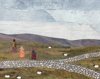 Brontë Sisters Print, Over the Moors, Haworth, Recycled Art, Collage, Wuthering Heights, Jane Eyre, Moorland, Landscape, Bronte Country