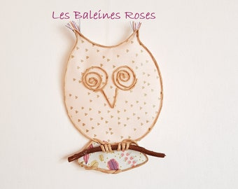 Wire OWL and fabric peach and gold glued onto a dried Willow branch. Product.