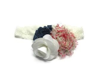 Flower Lace Headband, Denim Headband, Burlap Flower Headband, Baby Headband, Floral Headband, Girls Hair Accessory