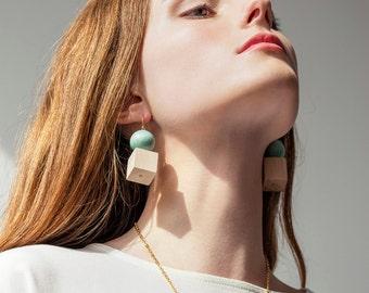 Geometric Earrings, Statement Earrings, Modern Earrings, Wood Earrings, Beaded Earrings, Dangle Earrings, Lightweight Earrings