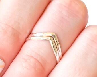 Silver Chevron Midi Ring, 2 Chevron Sterling Silver Midi Ring, Adjustable Midi Ring, Chevron Knuckle Ring, 925 Sterling Silver Midi Ring