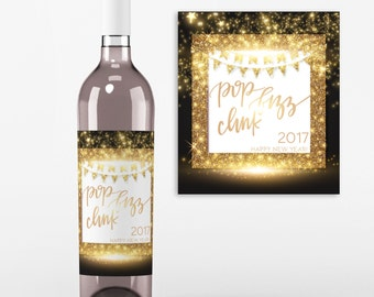 New Years Eve Wine Bottle Label -2017 New Year's Party - New Year Champagne Label, Party Decor, Wine Label, Happy New Year
