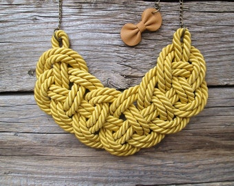 Mustard yellow Rope necklace Nautical rope knot necklace Mustard yellow