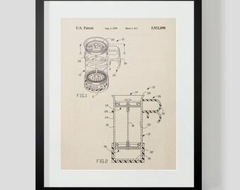 French Press Coffee Kitchen Patent Print 1