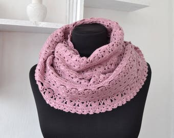 Crochet scarf Chunky Scarf Lace Scarf Cowl Pink Infinity Scarf Winter Crochet Scarf Woman Scarf Hand Crochet Scarf Winter Knitt Scarf