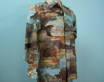 1970s Joe Namath Shirt . Vintage Arrow Scenic Photoprint Long Sleeve Big Collar Shirt . M
