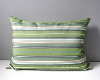SALE - Spring Green & Grey Pillow Cover, Modern Striped Pillow Cover, Decorative Outdoor Pillow Cover, Gray Sunbrella Cushion Cover