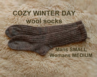 COZY WINTER DAY socks --- wool socks ---  Medium