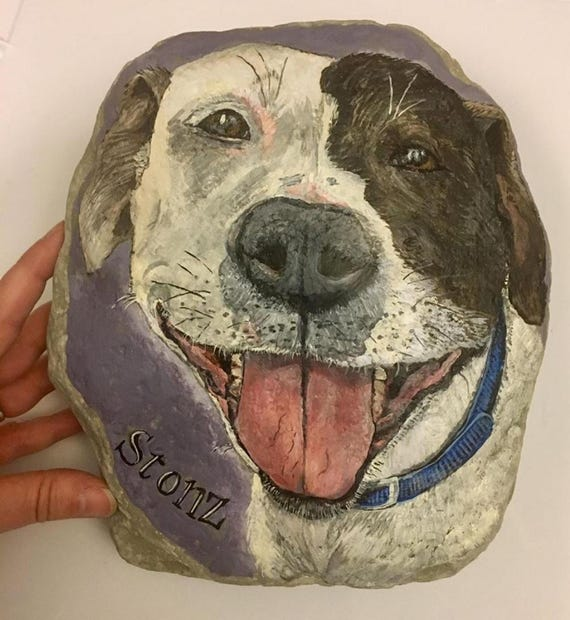 Pitbull Dog Memorial Stone Dog Painted On Rock Stone Painted