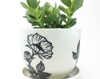 MADE TO ORDER Wheel Thrown Porcelain Planter with Hand Painted Floral Design