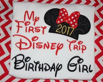 My First Disney trip birthday girl shirt or ruffle dress- boy or girl version