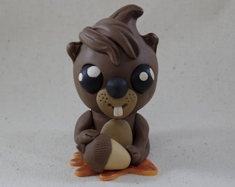 Bernie the Squirrel with Acorn Firguine | Handmade Squirrel Clay Sculpture | Collectible Squirrel | Squirrel Cake Topper | Squirrel Gift