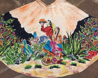 1950s Tipicano hand painted Mexican circle skirt